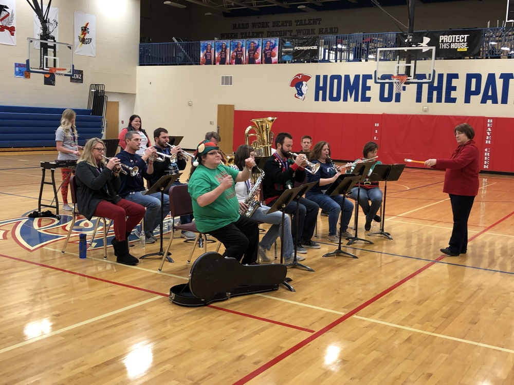 Staff Band Playing for Students