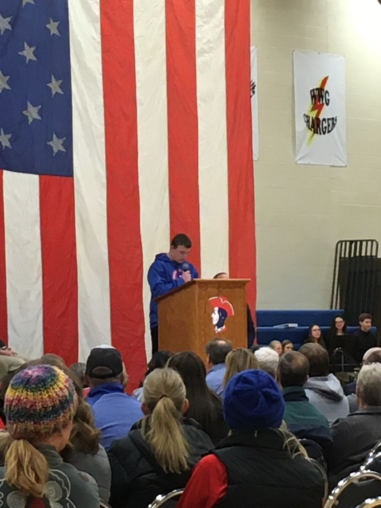 Calvin Erickson reading his winning VFW essay.